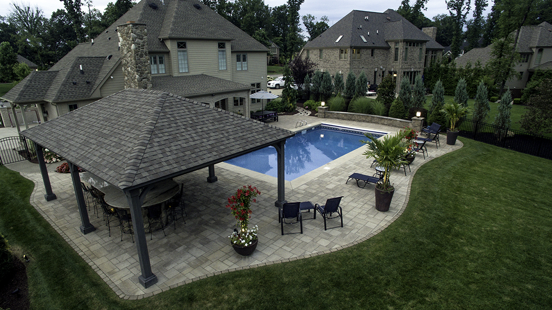 Backyard Renovation Around Existing Pool designed by Beall's Landscaping