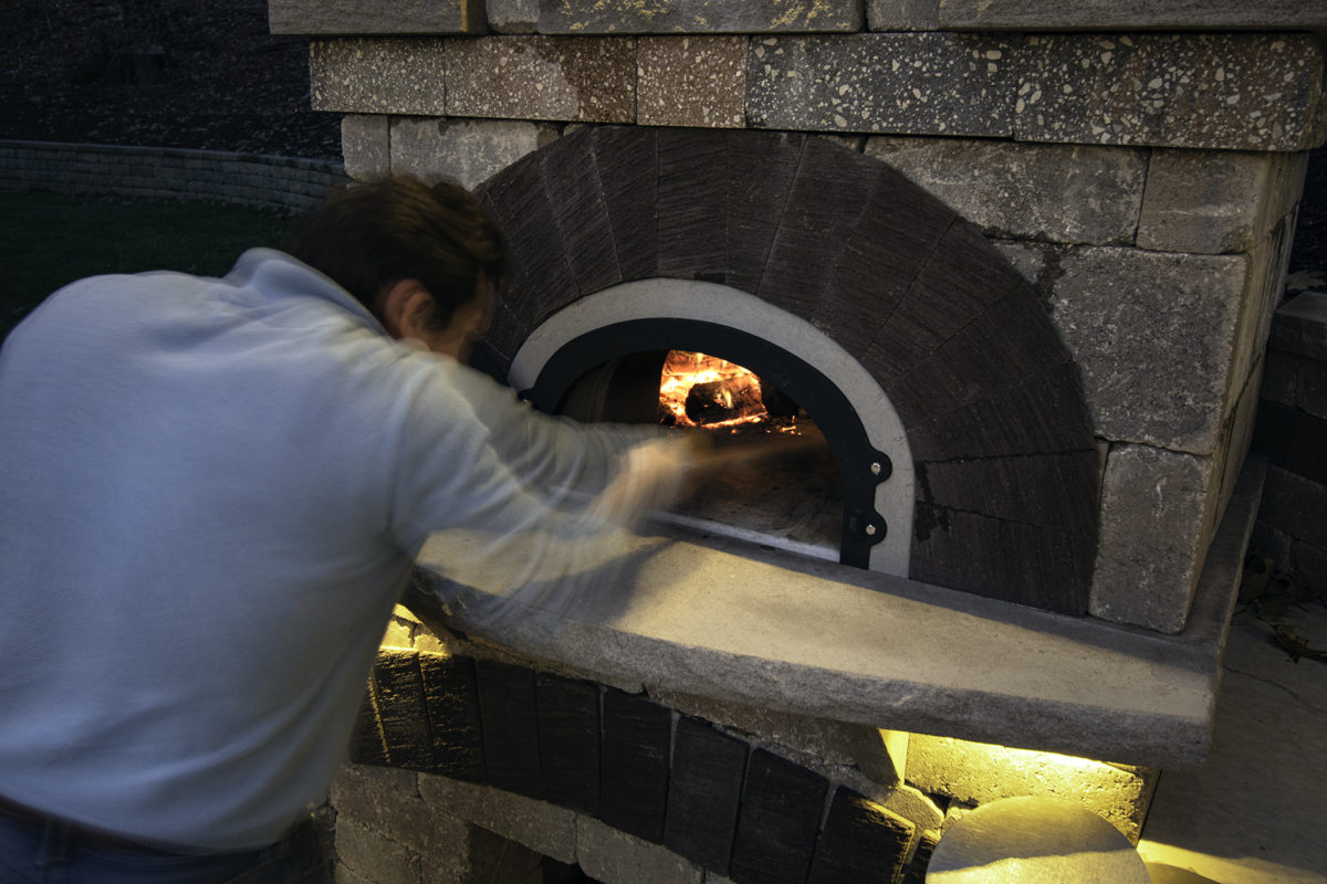 Outdoor Living Room with Pizza Oven Designed by Beall's Landscaping