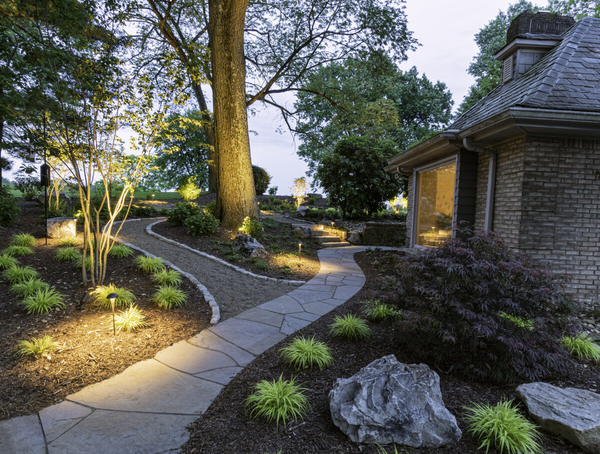 Woodland Garden with Natural Pathways Designed by Beall's Landscape
